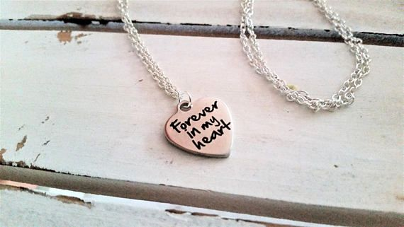 Stainless steel engraved heart pendant necklace  love/forever