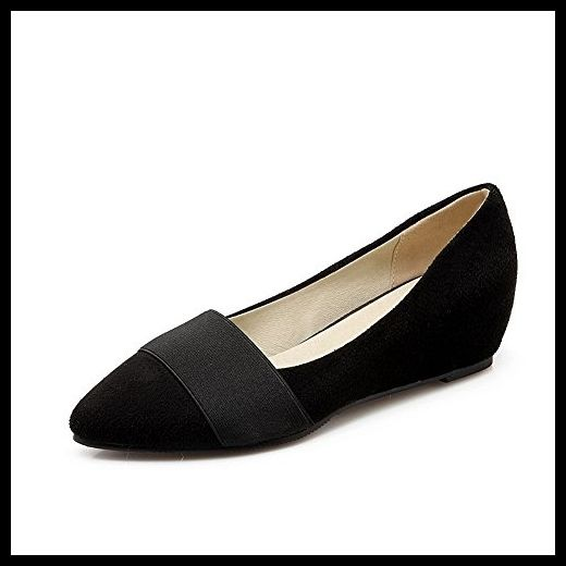 BalaMasa Womens Pointed-Toe Wedges Low-Cut Uppers Black Suede Pumps Shoes - 4 B(M) US