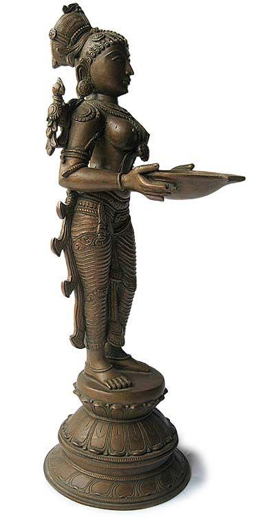 Indian Hindu Chola Bronze Deepalakshmi Oil Lamp