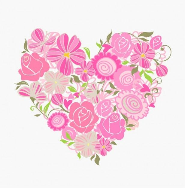 floral rosado del corazón gráfico vectorial