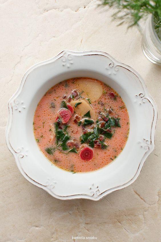Zupa botwinka z ziemniakami i koperkiem