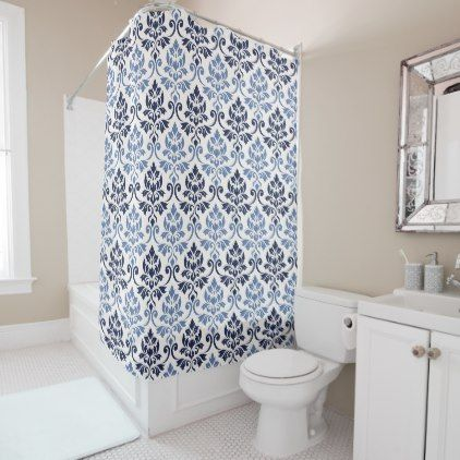 Feuille Damask Rpt Pattern Blues on Cream Shower Curtain - vintage gifts retro ideas cyo