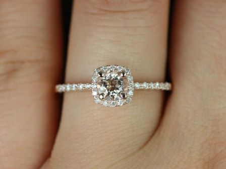 thin petite engagement rings | Version 14kt Rose Gold Thin Morganite Cushion Halo Engagement Ring ...