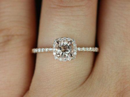 thin petite engagement rings | Version 14kt Rose Gold Thin Morganite Cushion Halo Engagement Ring ...