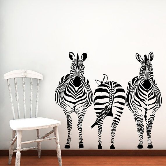 Wall Decals Zebra Animals Jungle Safari African by SuperVinylDecal