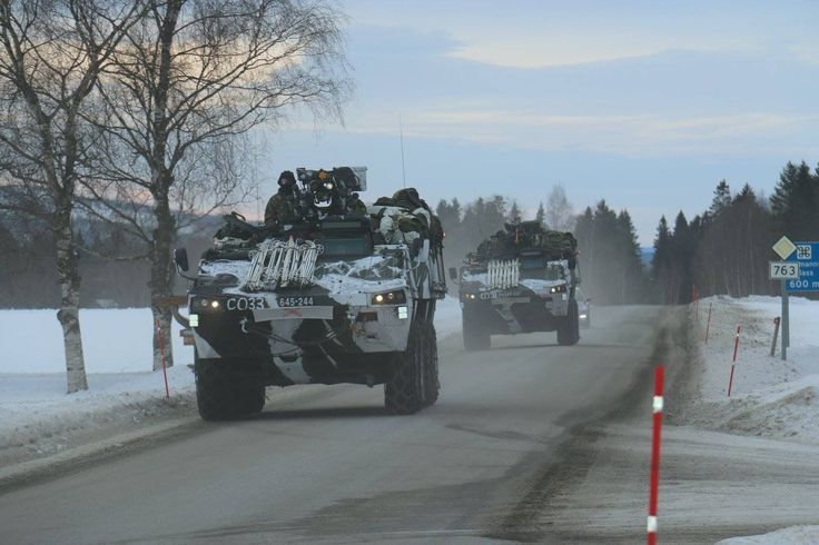 Finnish Patria AMV APCs on the move in Norway during the Cold Response 2016 exercise [1368x912]