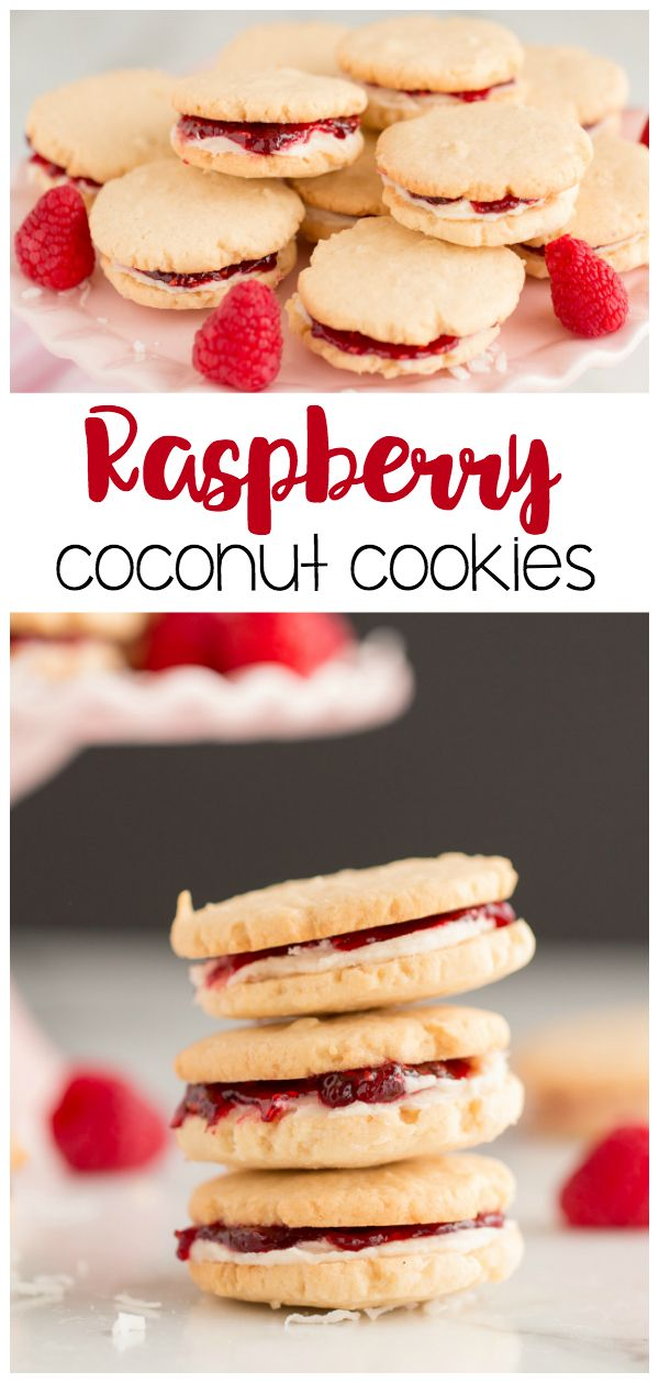 Raspberry Coconut Cookies: a delicious raspberry jam filled sandwich cookie with…