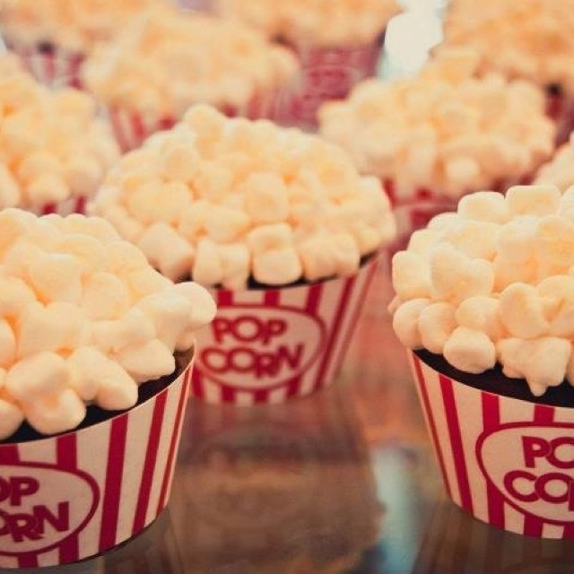 cupcakes for outdoor movie party (looks like the popcorn is made from marshmallows)