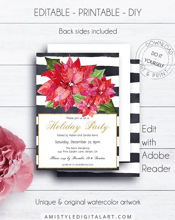 Christmas Flower Holiday Invitation, with glamorous watercolor Christmas poinsettia flower on a striped background.This elegant Christmas party invite listing is for an instant download EDITABLE PDF so you can download it right away, DIY edit and print it at home or at your local copy shop by Amistyle Digital Art on Etsy