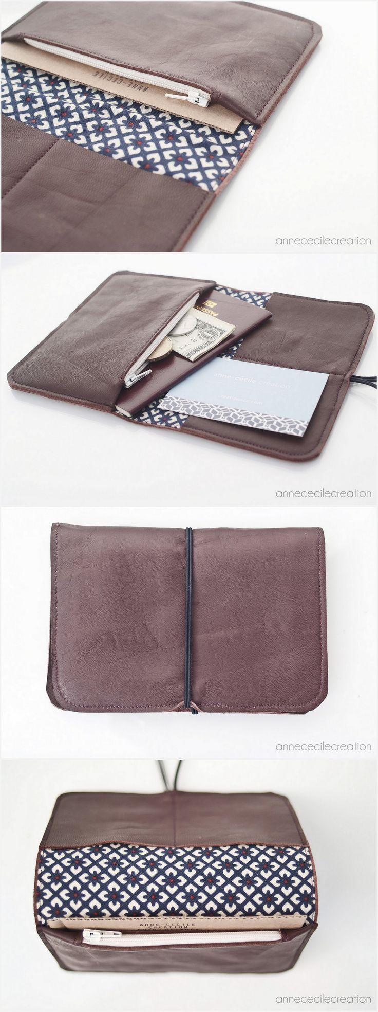 unique, tout en cuir, pour la monnaie ou vos cartes, papiers de voiture, assurance, carte d'identité et même passeport. Le portefeuille star d'AnneCecileCreation. Livraison gratuite. 38€ seulement.