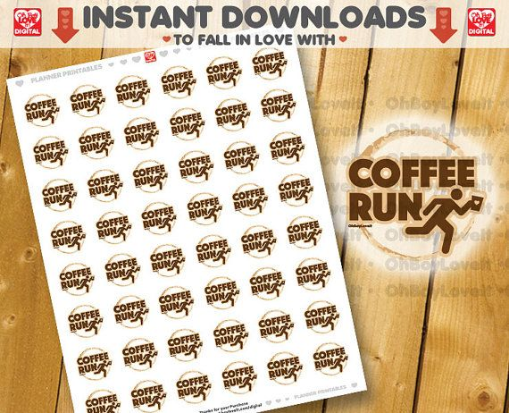 Coffee Run Planner Stickers, Printable PDF / JPG Also Fits Circle label layouts (1.2 circles)