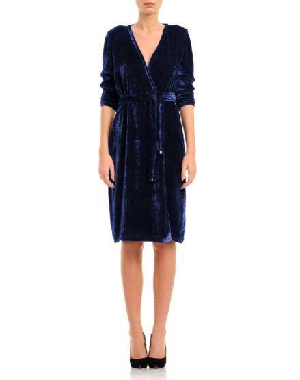 Navy-Blue Silk Velvet Wrap Dress #SilkVelvet #WrapDress