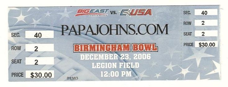 2006 papa johns bowl Full ticket South Florida ECU....if you like this you can find many more college bowl game tickets for sale at.....www.everythingcollectibles.biz