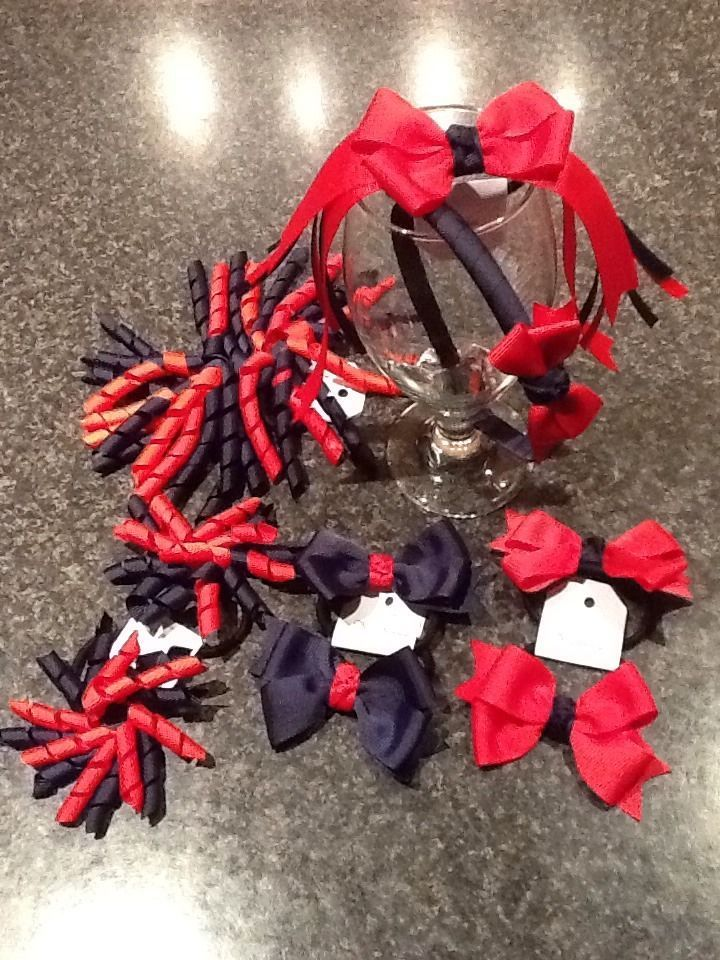 Madelienas Handmade ..Girls School Hair. set/ ponytail / Clips / headband - AU$33.00 a set