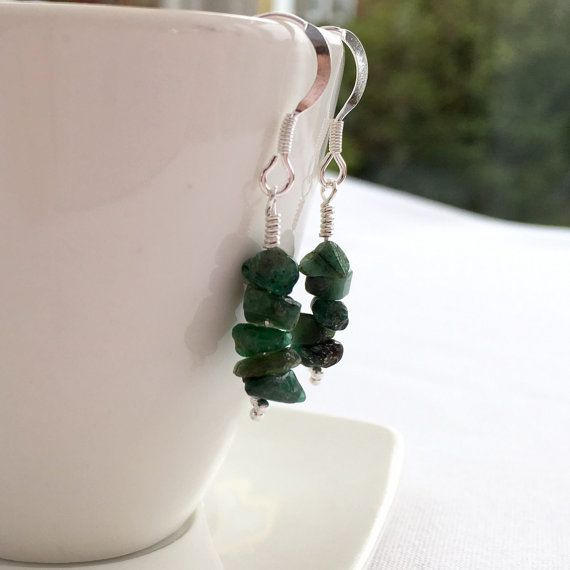 Raw Emerald earrings Emerald chip earrings with Sterling by Chalso
