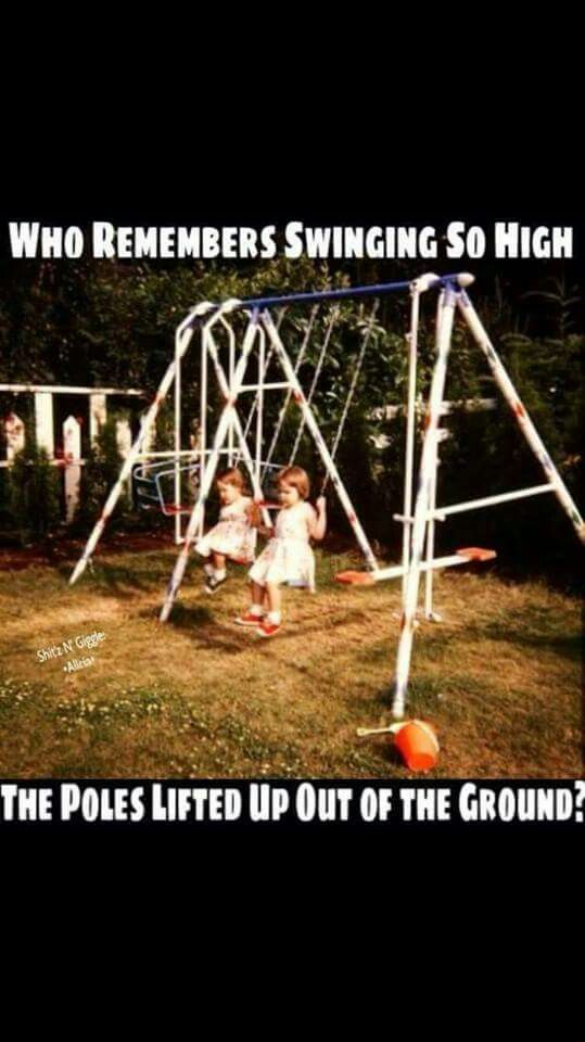 I do! It was fun until the whole swing set fell over.