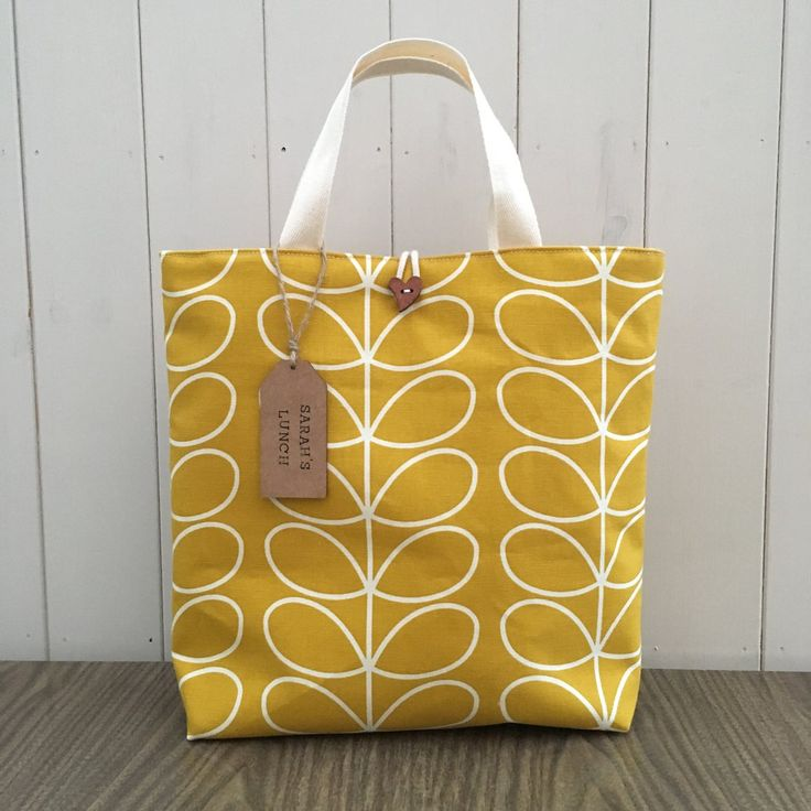 Orla Kiely Dandelion Linear Stem Large Lunch Bag Handmade If you choose a bag with a wooden tag/cream sewn label please leave a message with your...
