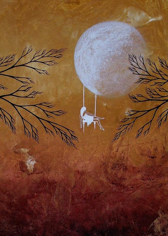 Swinging on the moon: Swings On The Moon, Prints Heartache, De Art, Trees Prints, Amazing Artworks, Abstract Trees, Moon Stars, Moon Swings, Artista Inter