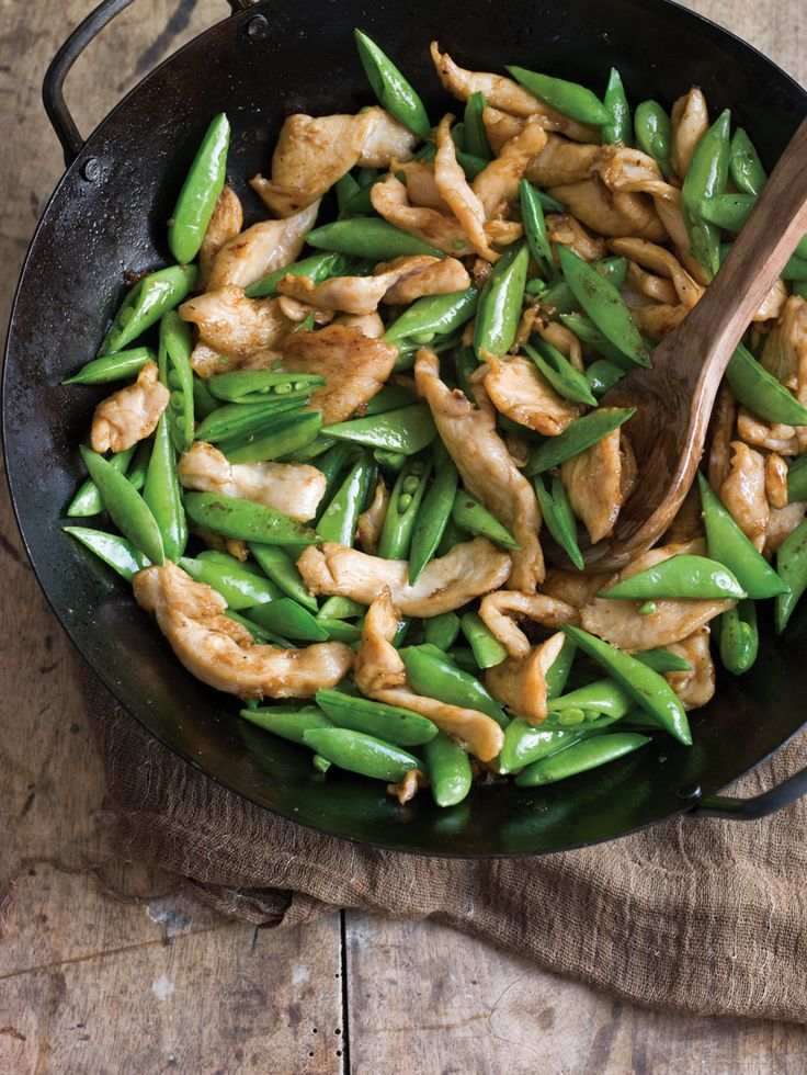 Plump, shiny sugar snap peas are perfect for stir-frying, because they cook quickly and still maintain a slight crunch. Here, they pair with thinly sliced ... read more