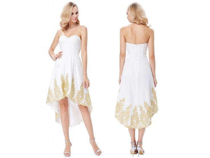 Bílo-zlaté společenské šaty GK, SKLADEM - Bestmoda - white prom evening dress / wedding dress
