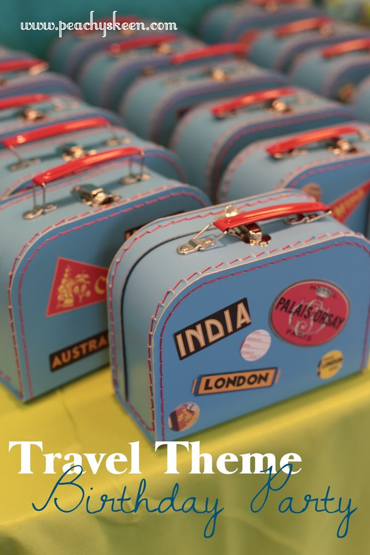 {suitcase party favors} {luggage favor boxes} Travel Theme Party from Peachy Skeen
