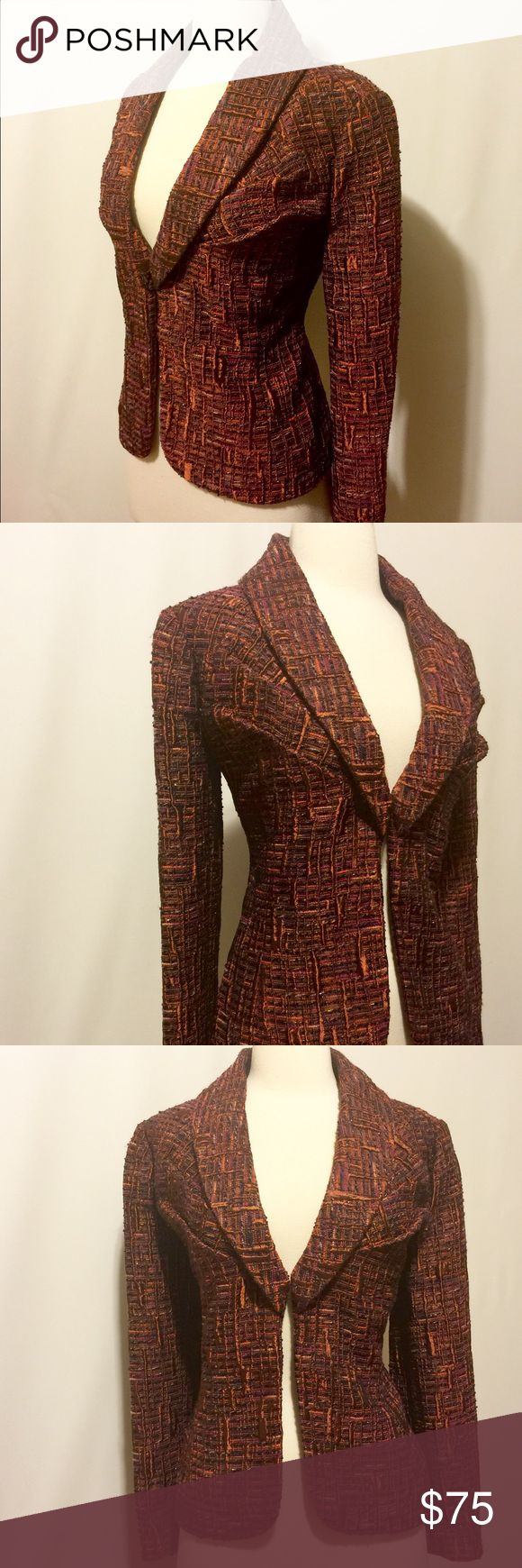 """✨ Flores & Flores Rust Plaid Brocade Dressy Jacket Dressy Jacket! A great way to dress up a simple dress or add piazza to jeans. Modern shawl collar, open front, pleated bust line, long sleeves jacket. Fully lined. Dry clean only. Missing size and care institutions label (removed because it itches). 36"""" bust 16"""" shoulder 32"""" waist 22"""" overall length 23"""" sleeve length Flores & Flores Jackets & Coats Blazers"""