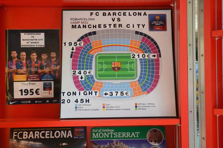 Prices for tickets are displayed at a ticket office on Las Ramblas ahead of the UEFA Champions League Round of 16 match between Barcelona and Manchester City at Camp Nou on March 18, 2015 in Barcelona, Spain.