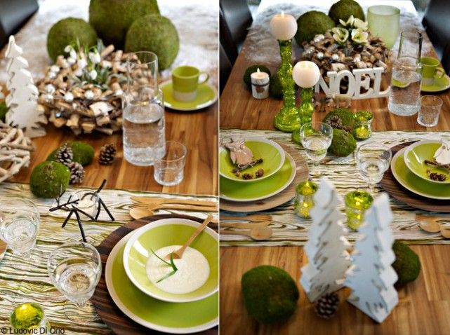 La flore s'invite à table durant les fêtes. Couverts en bambou - assiettes vertes - rappels à la forêt - chemin de table façon veines de bois - pommes de pin et des boules de mousse. Botanic
