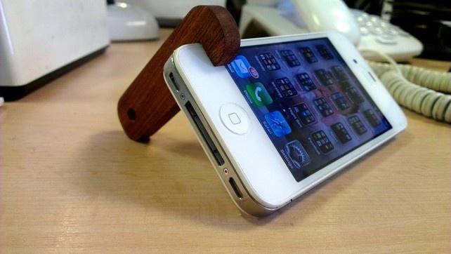 I Phone 4 5 Prop Holder Teak Wooden Key Ring Free Uk