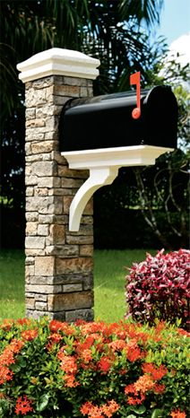 Cast Stone Mailbox Posts Curb Appeal Create curb appeal with an elegantly designed mailbox post made from the latest maintenance-free materials. Cast stone posts have the color and texture of natural stone, are extremely durable and lightweight for same day installation. High-Tech Maintenance-Free Materials • Cast stone posts are made from glass fiber reinforced concrete and have the look, feel and heft of custom stonework.