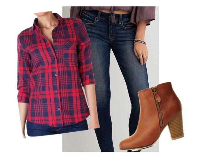 """""""Fall Lumberjack Outfit"""" by mlea18165 ❤ liked on Polyvore featuring American Eagle Outfitters, Charlotte Russe, Humble Chic, women's clothing, women, female, woman, misses and juniors"""