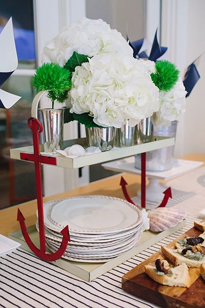 Our Anchor Tiered Stand and Rope Outdoor Dinnerware at the Mark and Graham Nautical Party in Texas. Styled by Camille Styles. #potterybarn