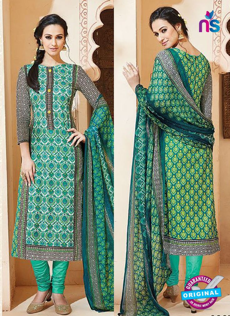SC 13007 Green and Multicolor Printed Cambric Cotton Straight Suit