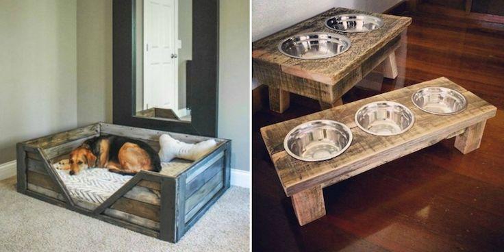 meuble en palette pour votre animal de compagnie- lit et gamelles pour votre chien