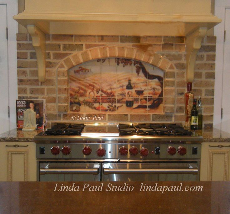 45 best kitchen brick images on pinterest kitchen for Backsplash tile mural
