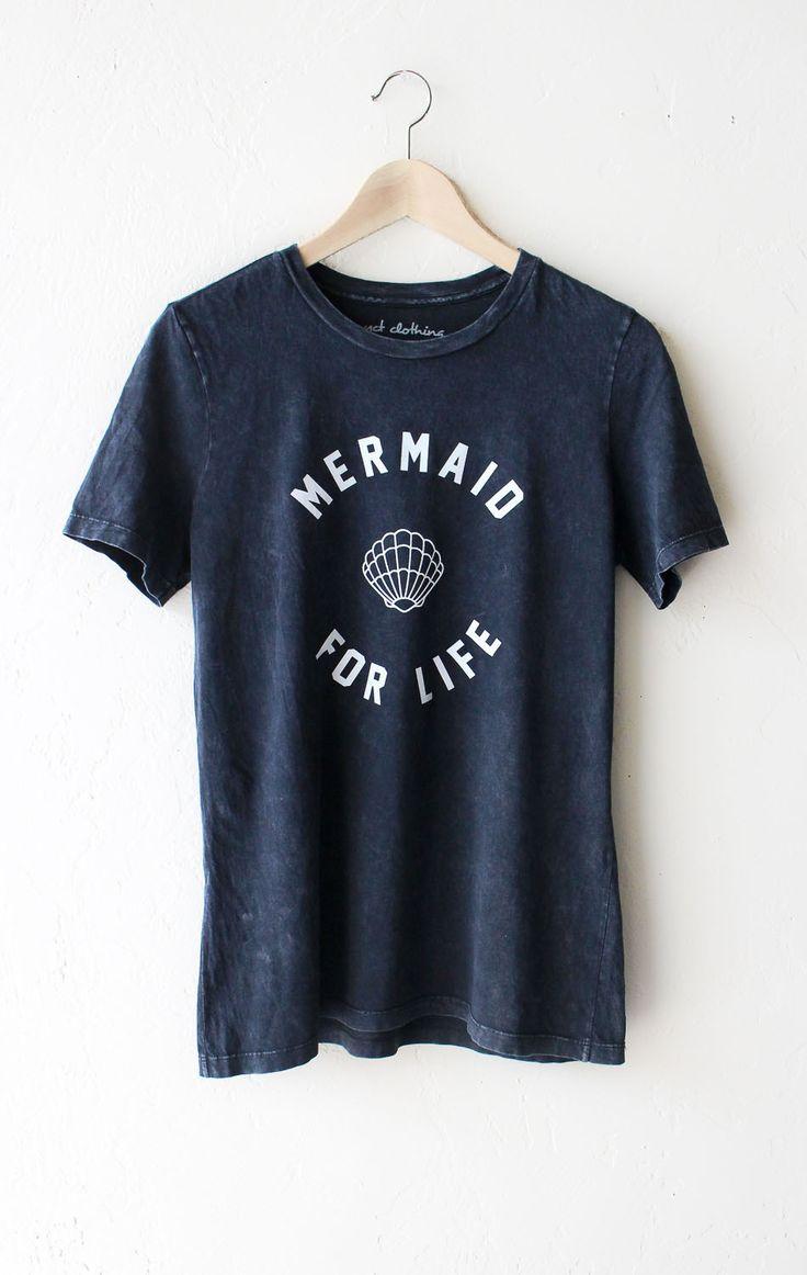 Mermaid For Life Relaxed Tee  Acid Wash Black