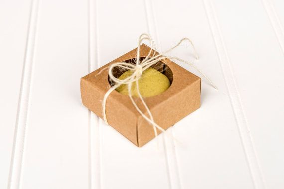 These adorable kraft brown individual sized macaron boxes are perfect for your next event!  These tiny boxes fit one macaroon or small cookie perfectly! They are perfect for a wedding or party favor. These boxes measure 2 1/4 x 2 1/4 x 1 . There is a clear cellophane covering the opening. You will receive 30 boxes in one order.  Macarons are not included! Boxes ship flat- easy to assemble