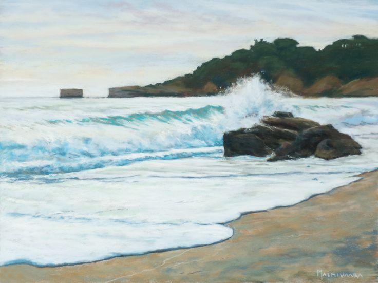 Praia Santa Eulalia, soft pastel painting on Pastelmat, 30 x 40 cm