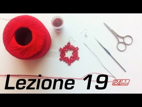 ▶ Chiacchierino Ad Ago - 19˚ Lezione Orecchino Cerchio Con Perline Bijoux - Tutorial Come Fare Tatting - YouTube
