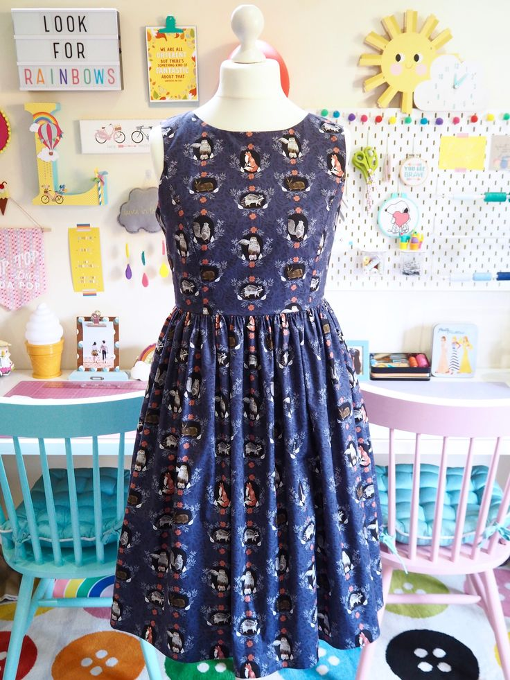 Smile & Make - COMING SOON: Made To Order - Navy Woodland Animals Picnic Dress