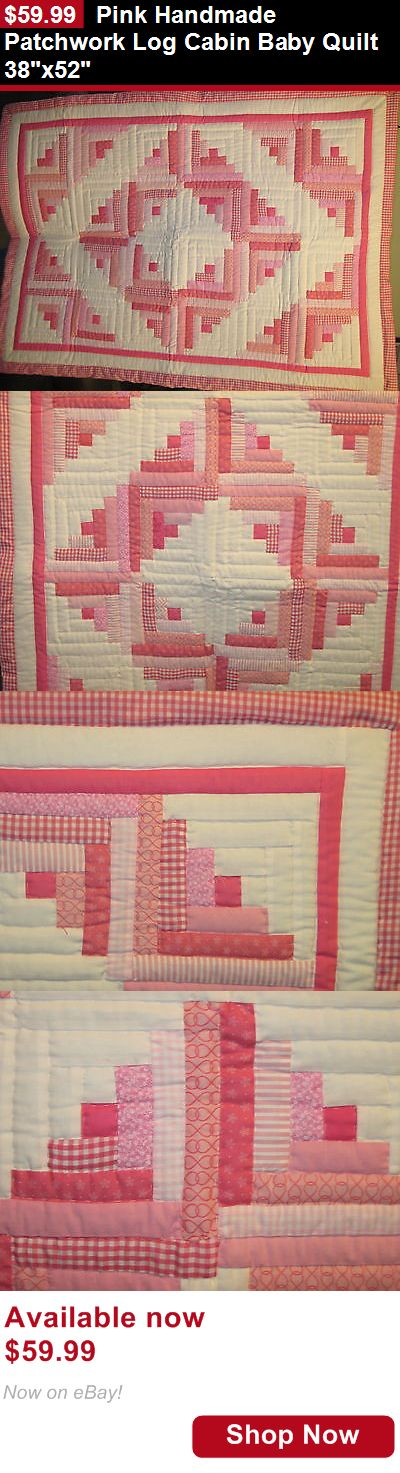 Quilts And Coverlets: Pink Handmade Patchwork Log Cabin Baby Quilt 38X52 BUY IT NOW ONLY: $59.99
