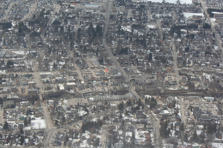 Nearby Fergus - Brent and Lauren from Tivoli Films Inc. did some filming from a small plane yesterday and snapped this awesome aerial shot of Fergus!  - Notice that Tower St. Bridge is half gone!! - http://www.tivolifilms.ca/