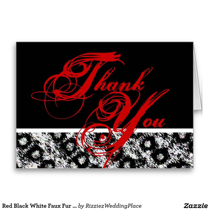 free online printable wedding thank you cards%0A Red Black White Faux Fur Script Thank You Card