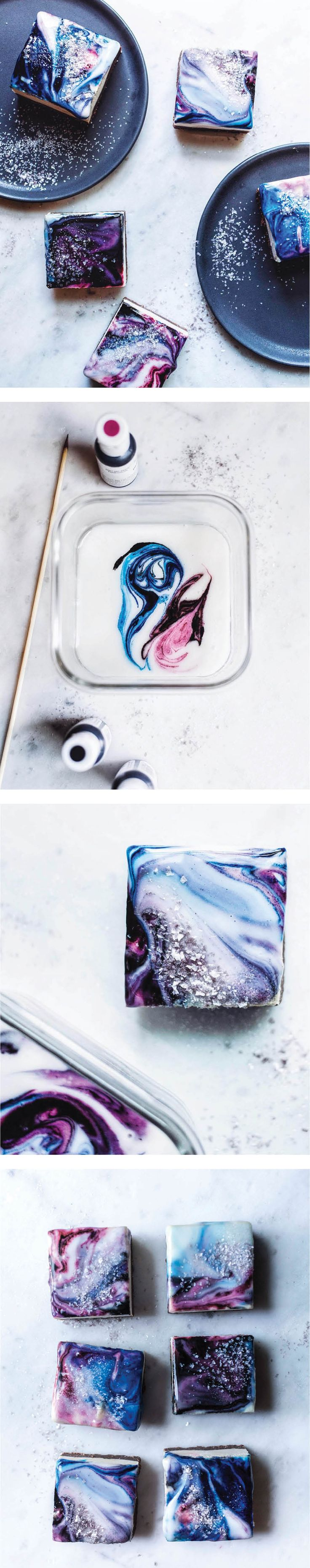 Marbled Icing DIY. Swirl colors into white icing with a skewer and then dip your…