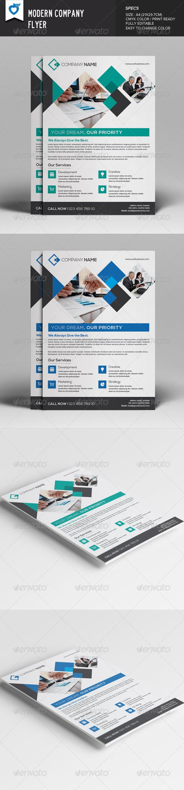 Modern Company Flyer Template PSD | Buy and Download: http://graphicriver.net/item/modern-company-flyer/8026340?WT.ac=category_thumb&WT.z_author=LeafLove&ref=ksioks