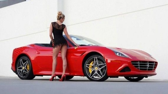 Ferrari California T and Sexy Blonde Create Modern Pinup Art