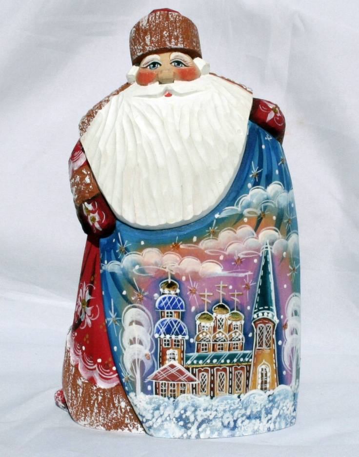 SANTA WITH RUSSIAN CHURCH SCENE Wooden Hand Carved Hand Painted SIGNED