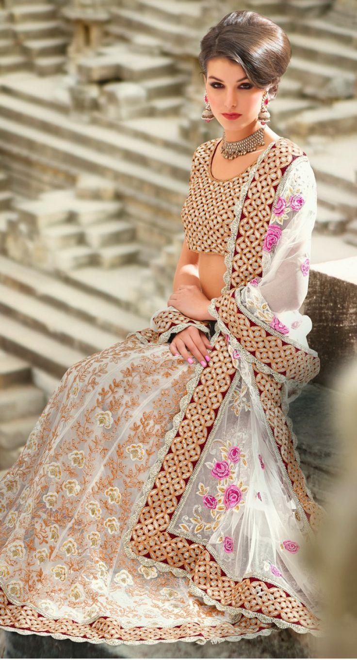 Sparkling Off White #lehenga #choli #indian #shaadi #bridal #fashion #style #desi #designer #blouse #wedding #gorgeous #beautiful
