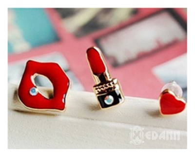 Red Chic Mismatch Earrings - Php 100