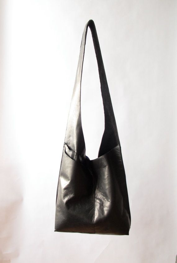 hand made black leather cross body bag by amykreiling on Etsy, 14x15x3, $280